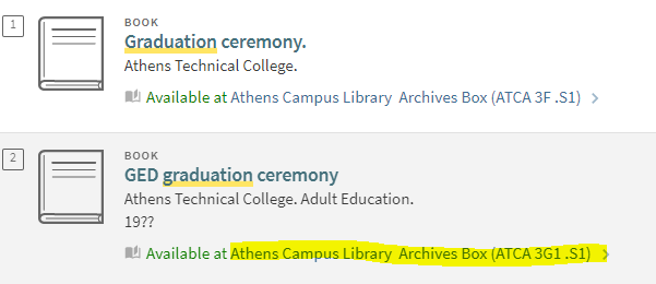 List of archives holdings showing location highlighted: Archives Box ATCA 3G1 .S1