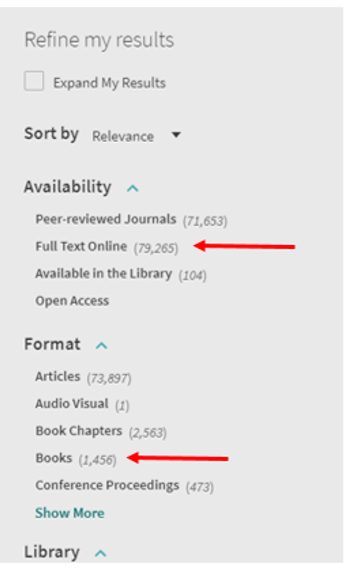 primo limit column arrows pointing to full text available online and book