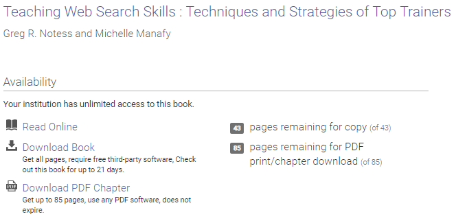 Proquest book description showing download/copy permissions