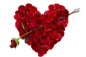 red heart-shaped bunch of rose with a rose arrow through it