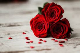 three red rose bunch on a white table with tiny heart confetti around it