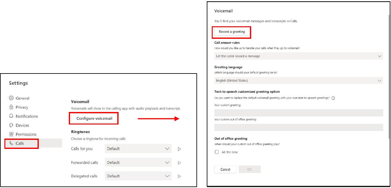 microsoft teams settings window