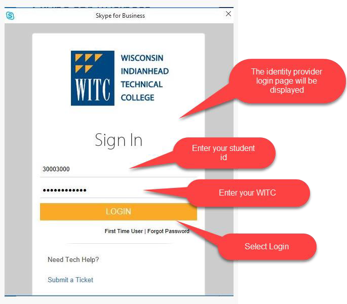 WITC login screen, use your ID number and network password