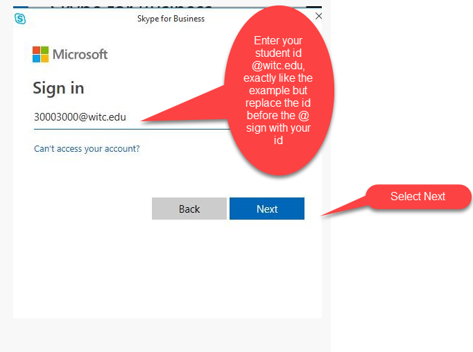 """enter your student ID number at witc.edu and click on the blue """"next"""" button"""