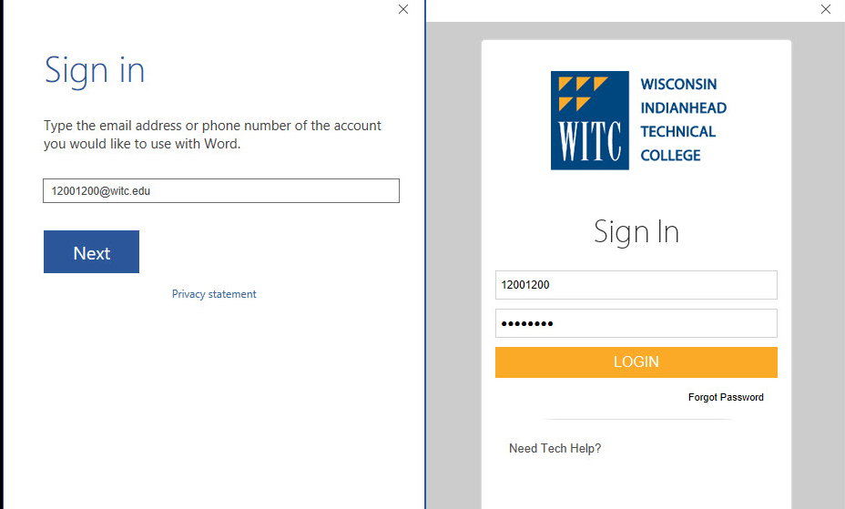 use your student ID number at witc.edu as your email