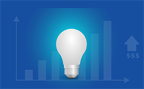 graph with light bulb representing leadership and innovation