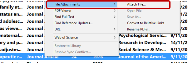 Screenshot of Endnote with File Attachment, Attach File highlighted.