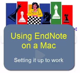 Woman with chess board.  Text reads: Using Endnote on a Mac.  Setting it up to work.