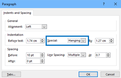 Screenshot of Paragraph settings with Special, Hanging chosen.