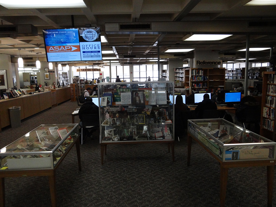 photo of 3 library display cabinets
