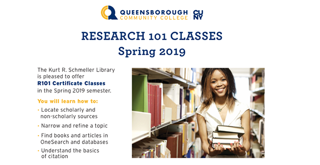 banner for Research 101 classes - click to see full schedule for Spring 2019