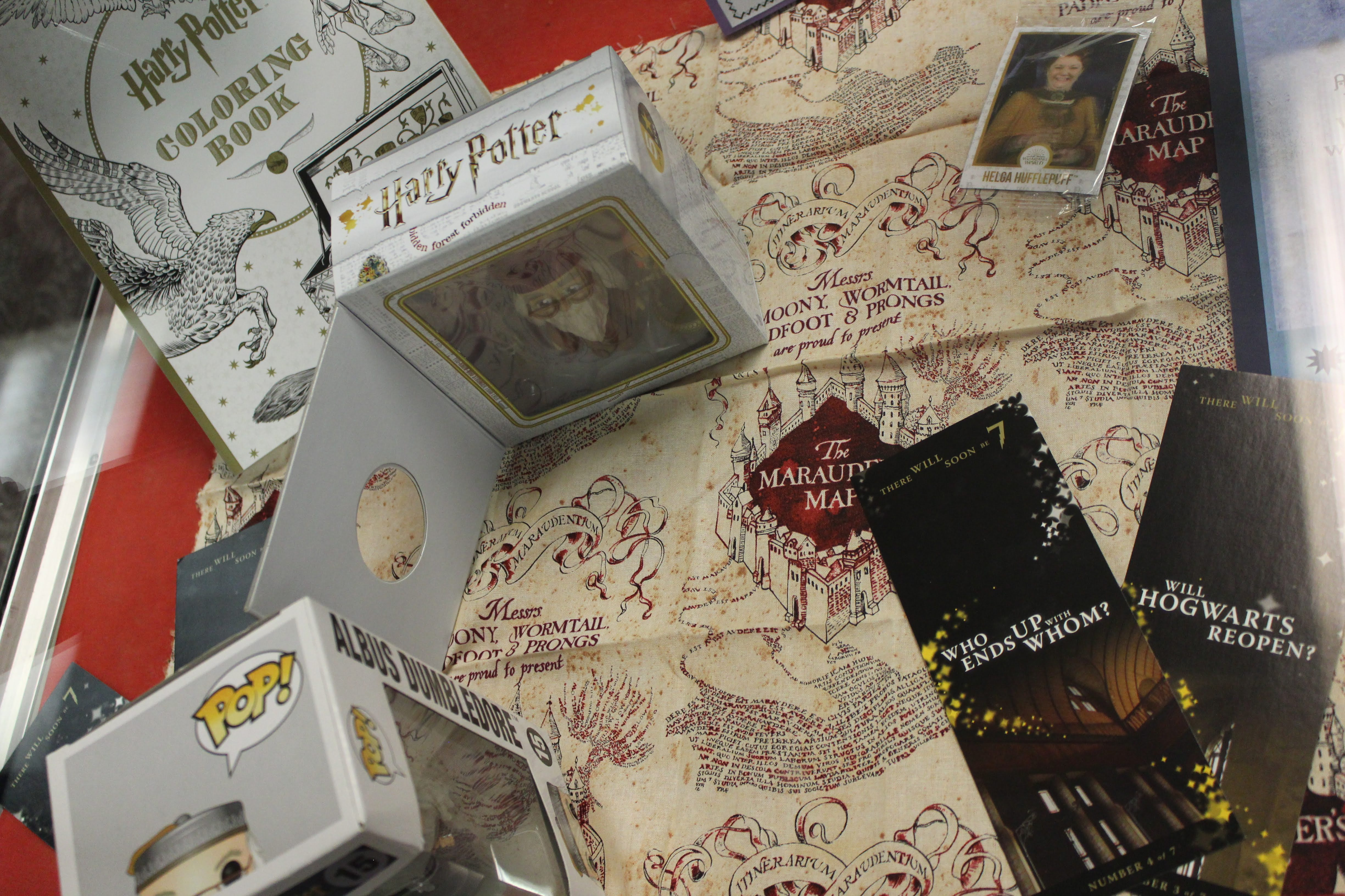 library display with harry potter books