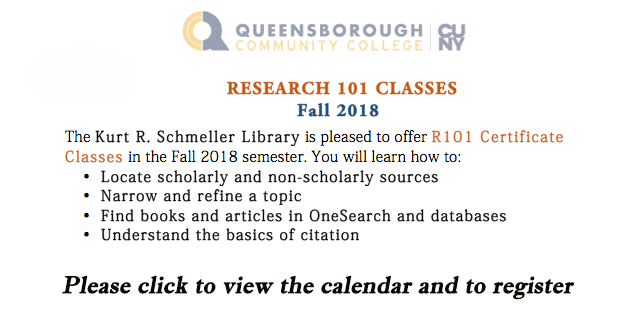 Schedule for Research 101 Classes for Fall 2018