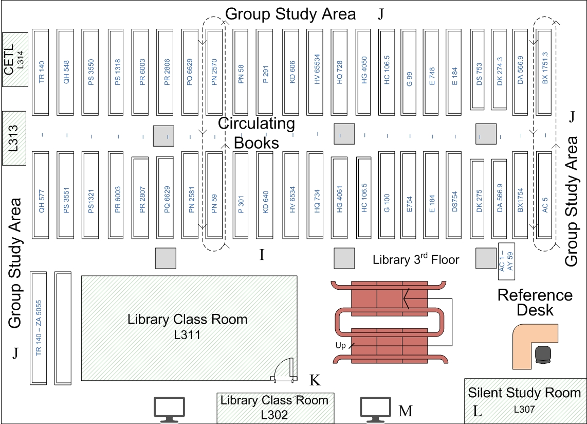 image of a map of the third floor of the library
