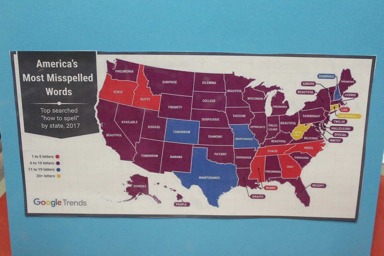 United States map with most misspelled words per state