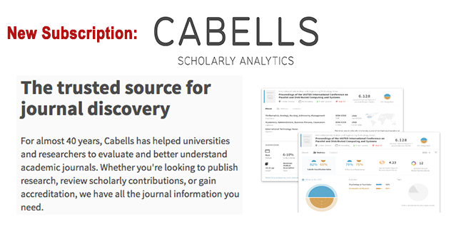 banner for Cabells database