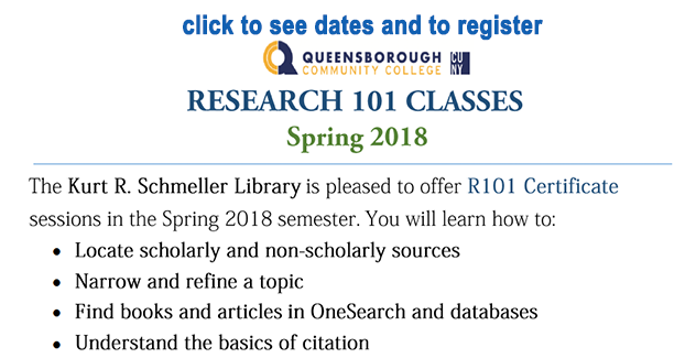 banner for research 101 classes in spring 2018