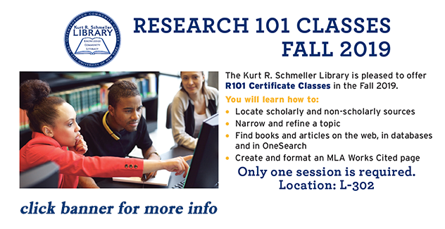 banner for research 101 classes for Fall 2019