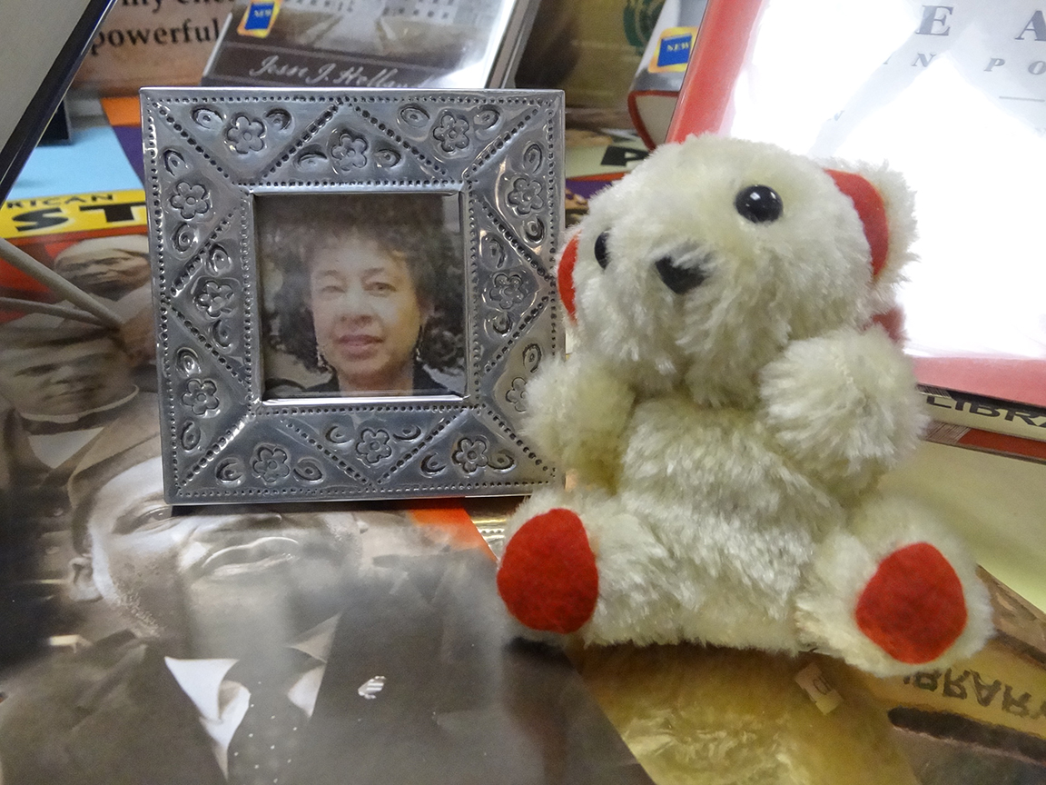 a photo of Barbara and a teddy bear