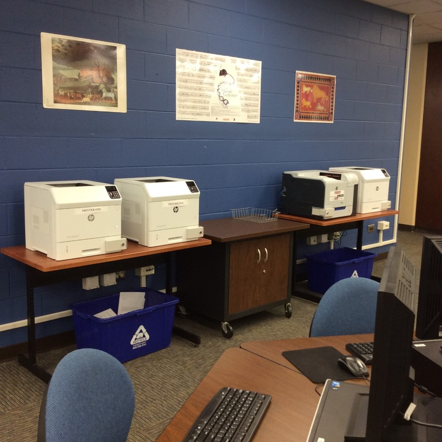 Photo of printer locations on Main Level