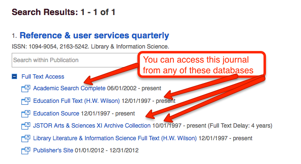 Search results for reference and user services quarterly