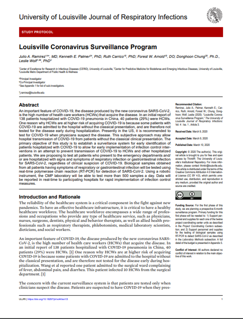 First page of COVID19 Surveillance Protocol