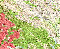 snapshot of topographic map of Oakland, CA