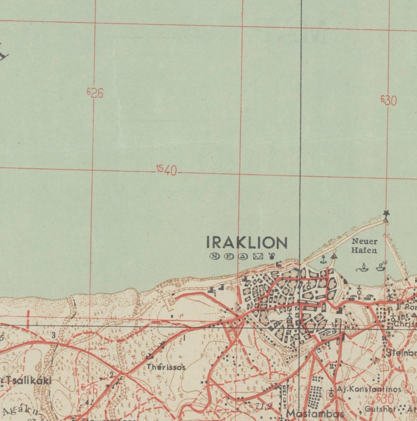 Close up showing Iraklion and surrounding areas