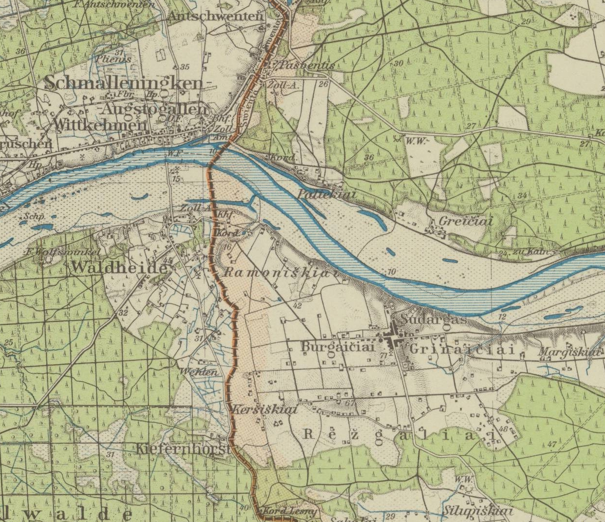 Close up of map showing river and boundary