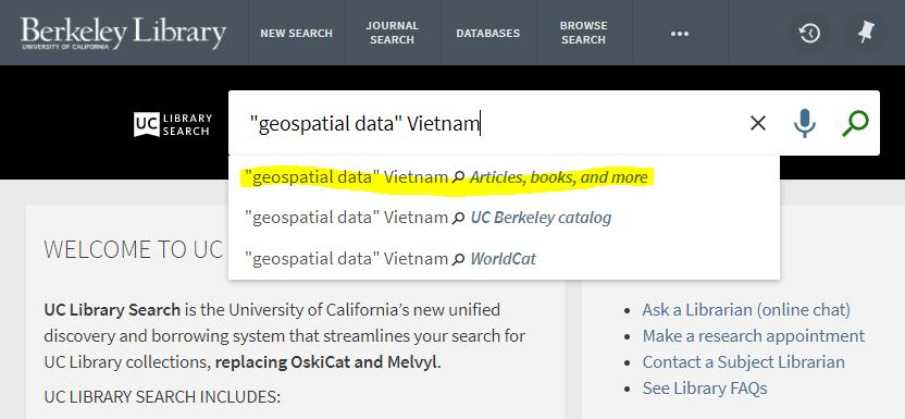 """UC Library Search for """"geospatial data"""" Vietnam in main search box"""