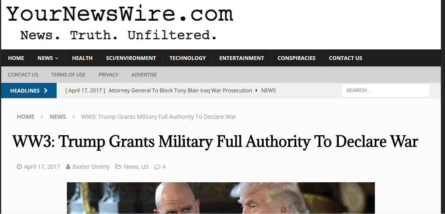 WW3: Trump Grants Military Full Authority to Declare War