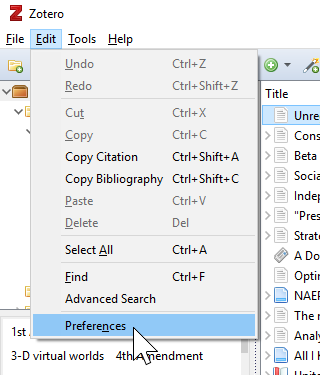 Shows clicking Edit menu then slecting Preferences in the Zotero app