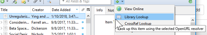 Image shows selecting an article in Zotero and using the lookup in the library drop down menu