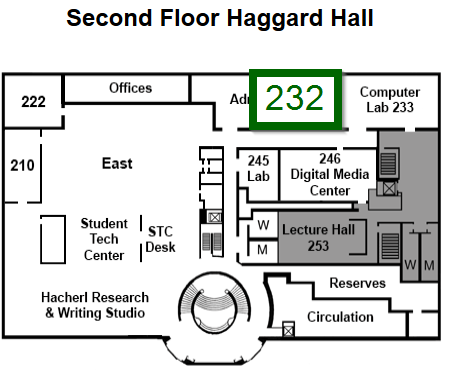 Image of a map showing the directions as follows: Haggard Hall 232 is located on the southern side of the second floor of the building. When entering the library via the Haggard Hall rotunda (the round stairs) head towards the sign that says Library Administration and turn right just before going through those doors. You will see 232 on your left. Ask at any service point for assistance.