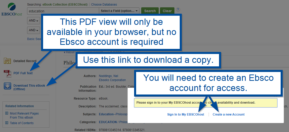 Image illustrates the PDF Fulltext and Download this Ebook link locations and need to set up an account with Ebsco.