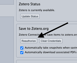 "Shows Zotero options, in section ""Save to Zotero.org"", click on the reauthorize button."