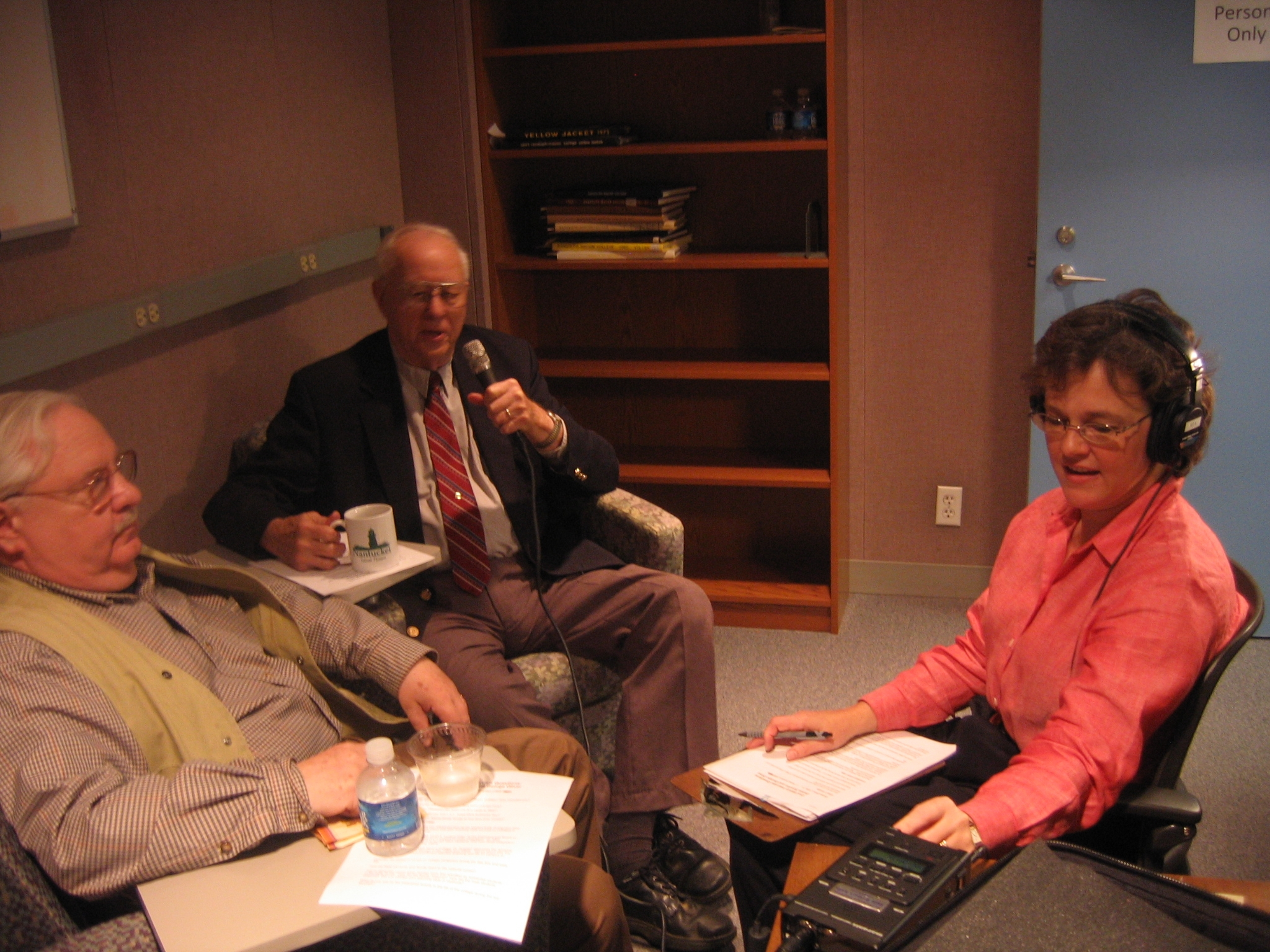 Lynda Wright interviewing James Scanlon and George Brown Oliver