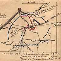 closeup of hand drawn map of civil war battle