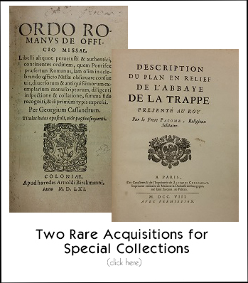 Two rare acquisitions for Special Collections