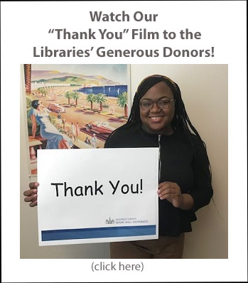 Watch our thank you film to the Libraries' generous donors smiling student holding thank you sign