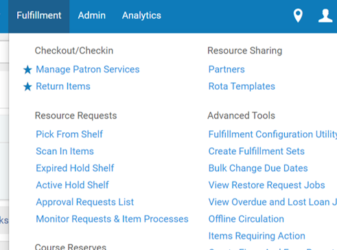 Screenshot of Alma menu to locate Manage Patron Services function