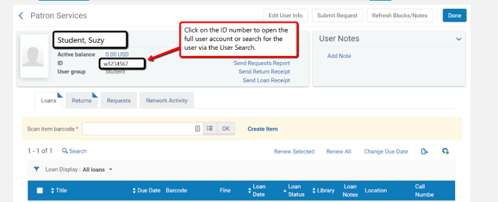 Alma screenshot of patron record with arrows and instructions for clicking on user ID