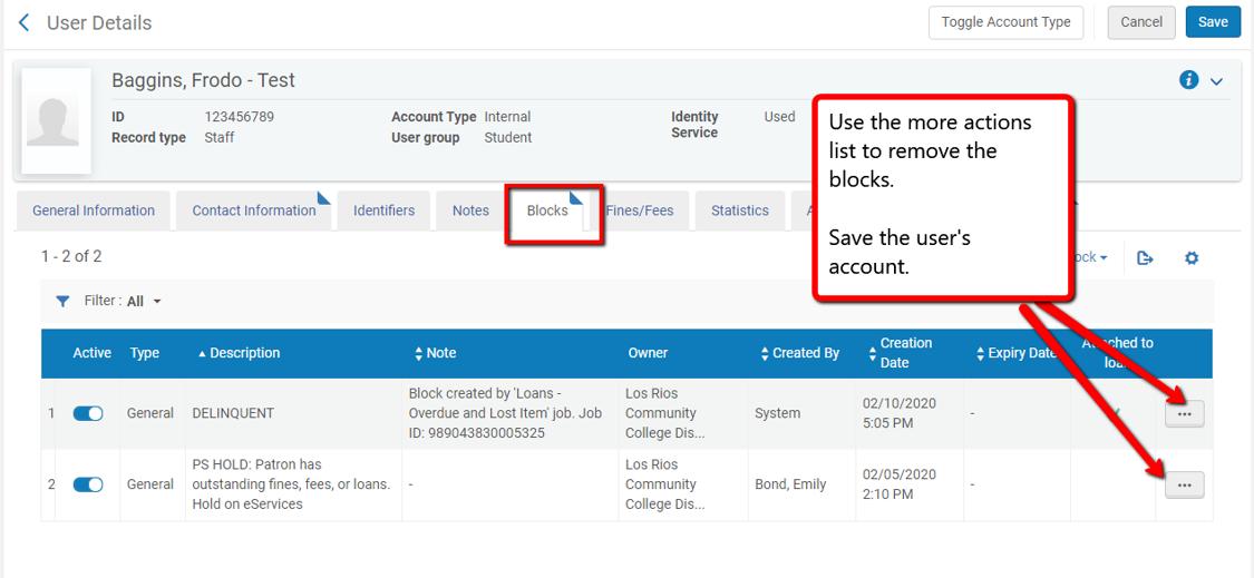 Screenshot of Alma blocks tab with arrows for removing blocks