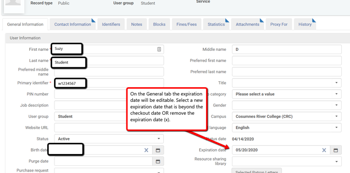 Alma screenshot of patron general tab to edit expiration