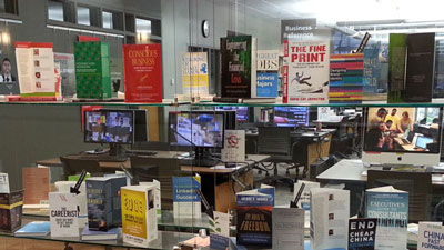 Display of new books in the Goizueta Business Library