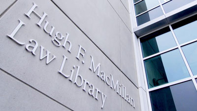 The front of the Hugh F. MacMillan Library, displaying the library's nameplate