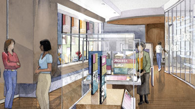 Artist's rendering of main hallway in Rose library