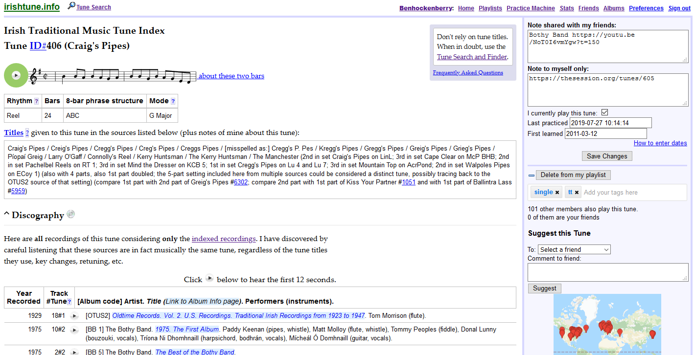 Screenshot of Irishtune.info tune with notes and recorded sources