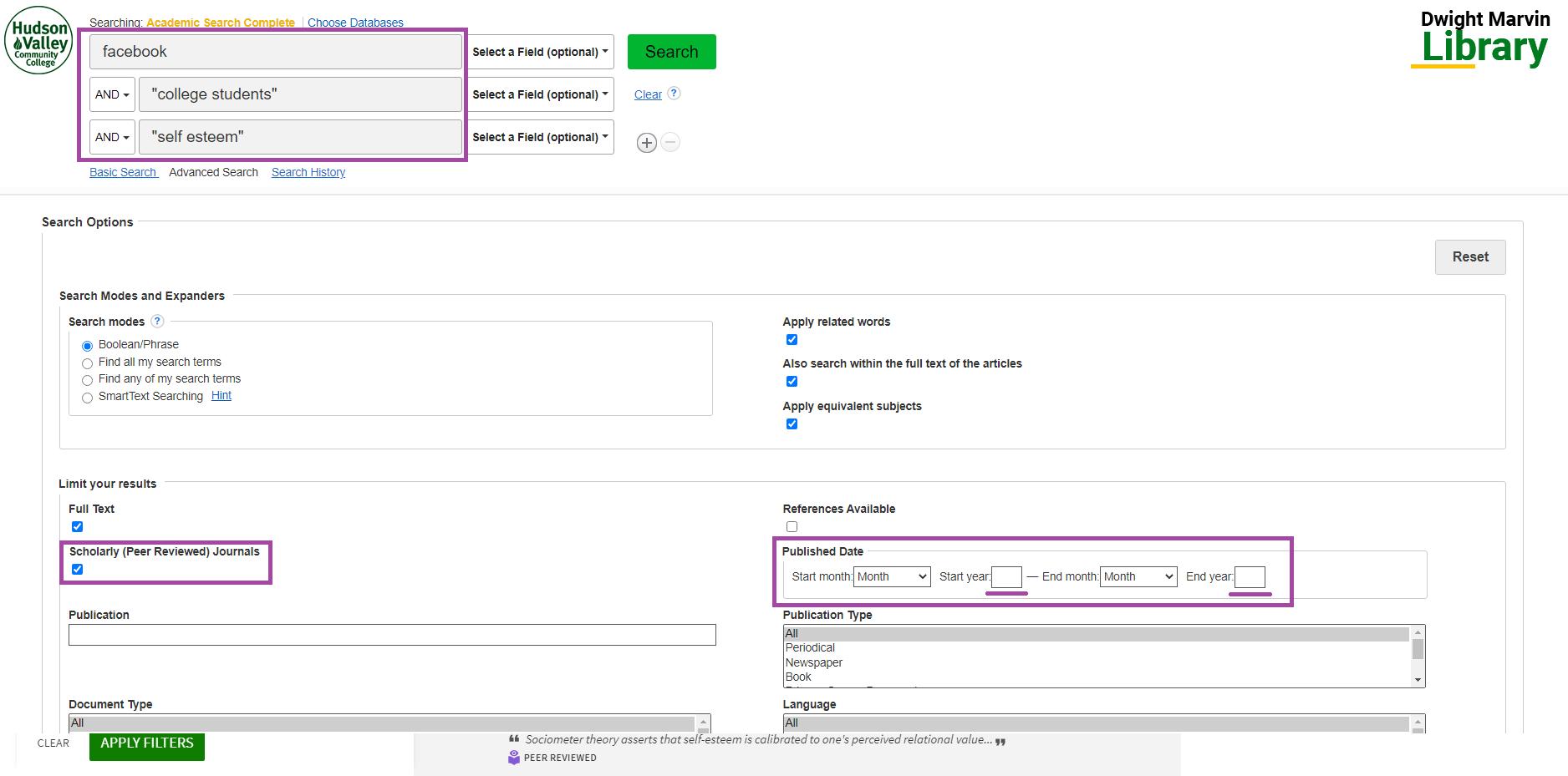 Screenshot advanced Academic Search Complete