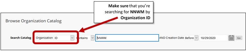 screenshot browse organization ID